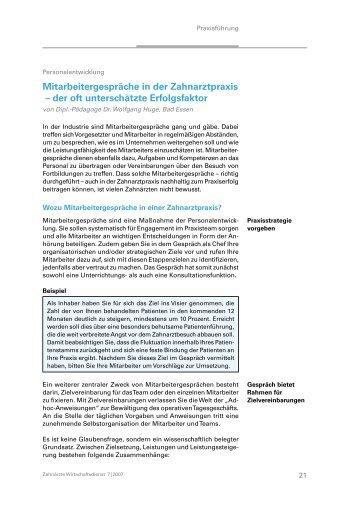 Mitarbeitergespräche in der Zahnarztpraxis ... - Dr. Wolfgang Huge