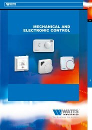 MECHANICAL AND ELECTRONIC CONTROL - Watts Industries