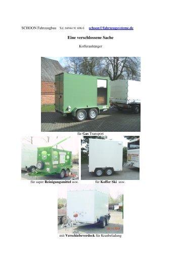 Kofferanhänger viele Ideen - Schoon Fahrzeugsysteme