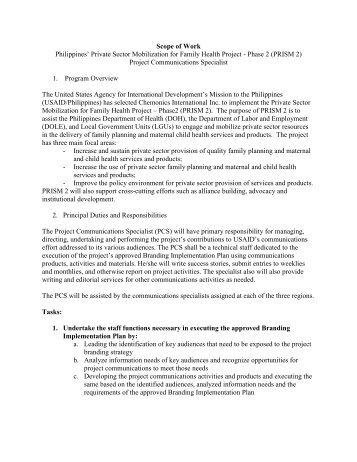 Title II Evaluation Scopes of Work - FANTA