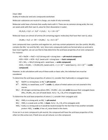Worksheets Properties Of Ionic Compounds Worksheet chem 1062 acidity of molecular and ionic compounds worksheet aciditybasicity practice worksheet