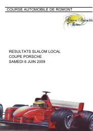 course automobile de romont resultats slalom local ... - Racedata