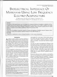 Bioelectrical Impedance of Meridians Using Low Frequency Electro ...