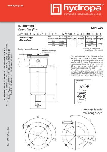 Rücklauffilter Return line filter MPF 180 - Hydropa GmbH & Cie. KG