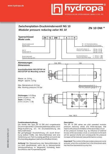 + Datenblatt ZN 10 DM - Hydropa GmbH & Cie. KG