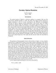 Faraday Optical Rotation - University of Michigan