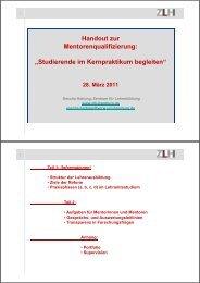 """Handout zur Mentorenqualifizierung: """"Studierende ... - ZLH-Hamburg"""
