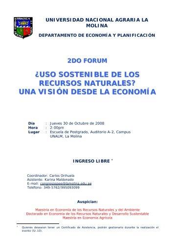 2DO FORUM - Universidad Nacional Agraria La Molina