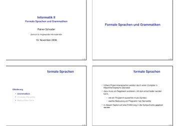 Informatik II Formale Sprachen und Grammatiken formale ... - ZAIK