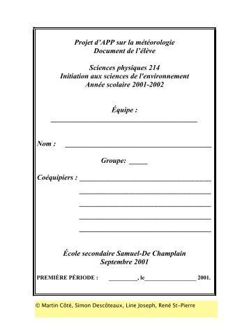 Projet d'APP sur la météorologie Document de l'élève ... - Pistes