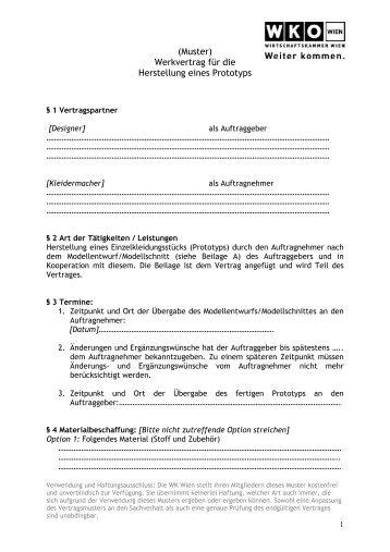 Muster Werkvertrag Fã¼r Die Herstellung Eines Creativespace