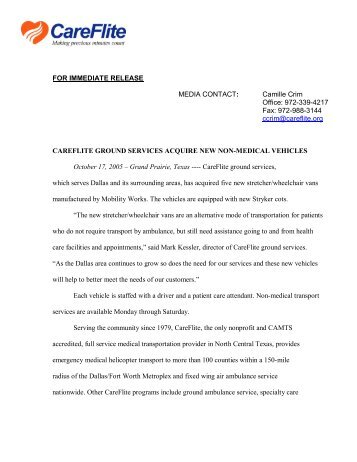 FOR IMMEDIATE RELEASE MEDIA CONTACT: Camille ... - CareFlite
