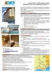 FICHE RESIDENCE ISOLA 2000 - HIVER - INNOVA Tourisme