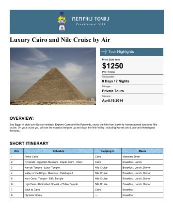 Luxury Cairo and Nile Cruise by Air - Memphis Tours Egypt