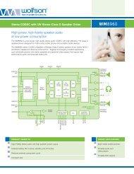 WM8960 Product Flyer - Wolfson Microelectronics plc