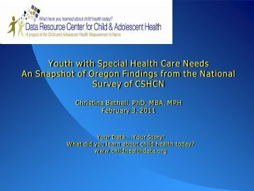 Youth with Special Health Care Needs: A Snapshot of Oregon ...