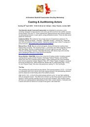 Casting & Auditioning Actors - Directors Guild of Great Britain