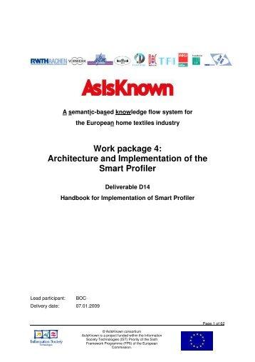 Handbook for Implementation of Smart Profiler - AsIsKnown