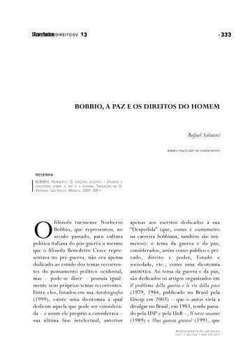 Bobbio, a paz e os direitos do homem - Escola de Direito de São ...