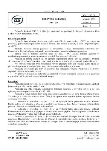 Podavače šnekové PSC 315 - ZVVZ a.s.