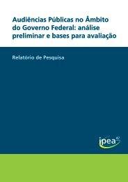 Audiências Públicas no Âmbito do Governo Federal: análise ... - Ipea