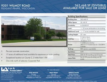 9201 wilmot road 363,468 SF (diviSible) available For Sale or leaSe