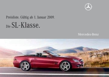 Die SL - Klasse. - Preislisten