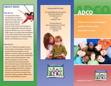 view our membership brochure - ADCO :: The Association of Day ...