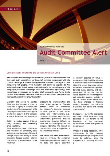 KPMG Audit Committee Alert