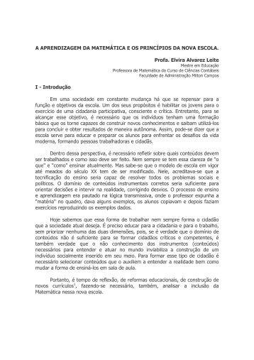 A APRENDIZAGEM DA MATEMÊTICA E OS ... - Milton Campos