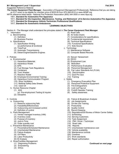 M-1 Management Level 1 Supervisor - Emergency Vehicle