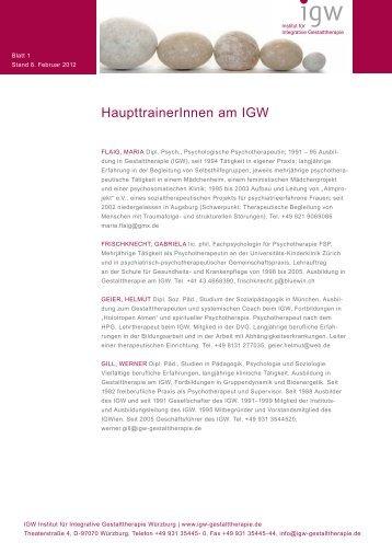 HaupttrainerInnen am IGW - IGW Institut für integrative ...