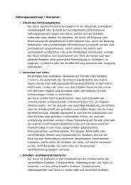Haftungsausschluss / Disclamer: 1. Inhalt des Onlineangebotes Der ...