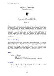 Faculty of Liberal Arts Sophia University International Trade (IBE322)