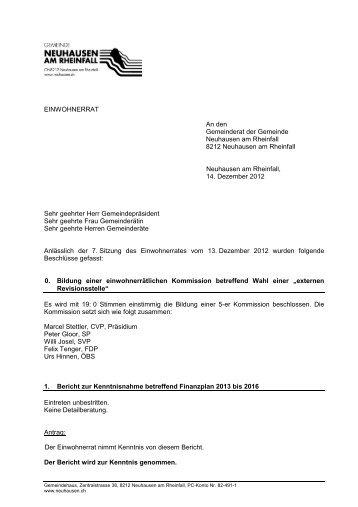 kurz 13.12.2012(PDF) - Gemeinde Neuhausen am Rheinfall
