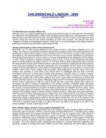 CHILDREN/CHILD LABOUR - 2009 - Indian Social Institute