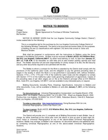 NOTICE TO BIDDERS - Build LACCD