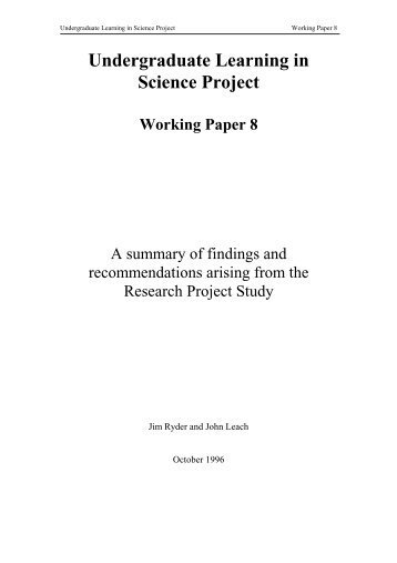 A summary of research findings and recommendations arising from ...