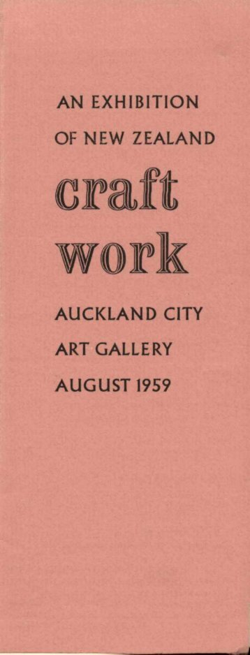 an exhibition of new zealand auckland city art gallery august 1959