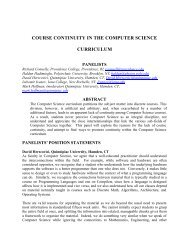 course continuity in the computer science curriculum - Iona College