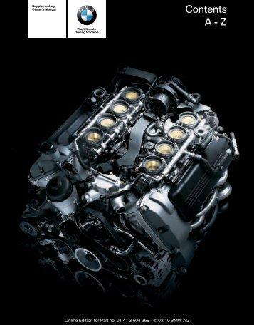 2011 M3 Supplemental Owner's Manual - Irvine BMW