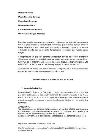 Marcela Palacio Paula Carolina Serrano Escuela de Derecho ...