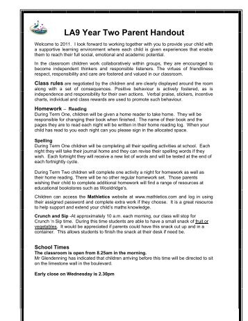 LA9 Year Two Parent Handout - Campbell Primary School