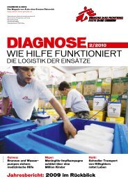 DIAGNOSE 2/2010: Die Logistik der Einsätze - Ärzte ohne Grenzen