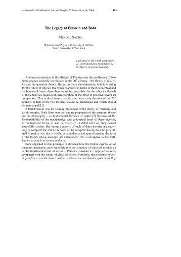 The Legacy of Einstein and Bohr - Fondation Louis de Broglie