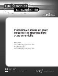 L'inclusion en service de garde au Québec - acelf