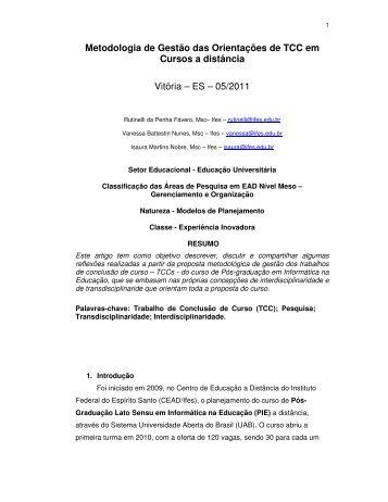 Metodologia de Gestão das Orientações de TCC em Cursos ... - Abed