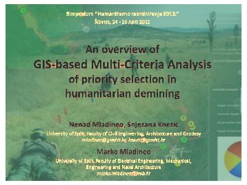 Nenad Mladineo: An overview of GIS-based Multi-Criteria Analysis ...