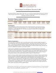Brownstone Partners Catalyst Fund, LLC Performance – 2009