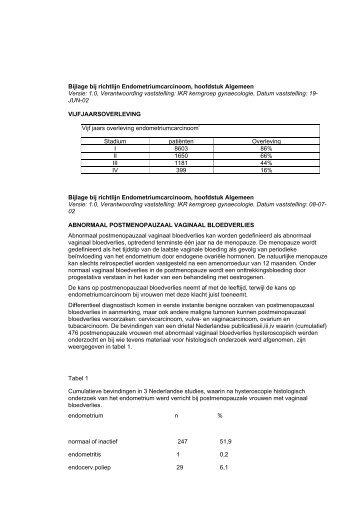 Bijlage bij richtlijn Endometriumcarcinoom, hoofdstuk ... - Oncoline
